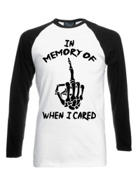 In Memory Black White Long Sleeve Raglan T Shirt