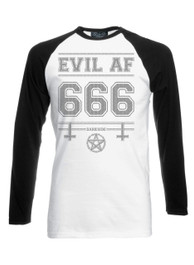 Evil AF Black White Long Sleeve Raglan T Shirt