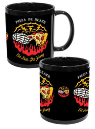Pizza Or Death Black Mug
