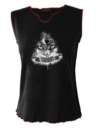 Witchcraft Eyes V Neck Vest With Red Trim