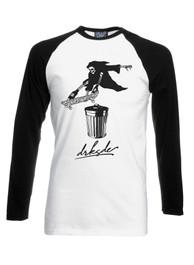 Skateboard Reaper Mens Long Sleeve Baseball T Shirt
