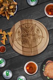 Pentagram Baphomet Round Serving Chopping Board