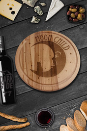 Moonchild Round Serving Chopping Board