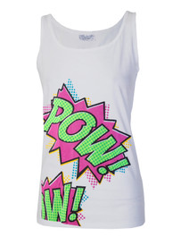 Womens Cartoon Slogan Pow Vest