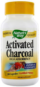 Nature's Way Activated Charcoal: Treatment  for indigestion, abdominal bloating, abdominal discomfort, de-toxing, flatulence treatment, food poisoning, die-off treatment, cholestasis treatments, cholesterol treatment, hangover cure.