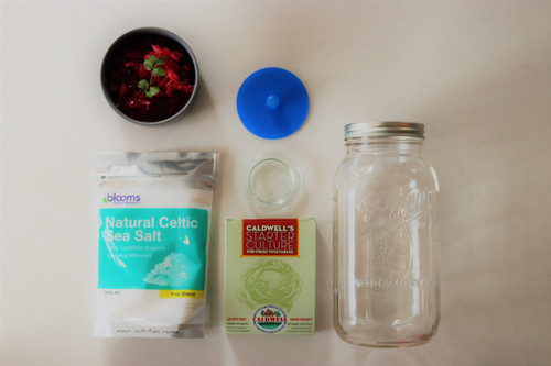 Ball Mason Vegetable Fermenting kit, Everything you need to start fermenting vegetables.  1 x 2 liter ball mason jar  1 x Pickle pipe (waterless airlock)  1 x Small glass fermenting weight  1 x Caldwell's Vegetable starter (6 sachets)  1 x 500 gr Natural Celtic sea salt