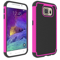 Hot Pink Heavy Duty Tough Shockproof Hard Case For Samsung Galaxy S6 Edge - 1