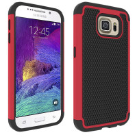 Red Samsung Galaxy S6 Edge Hybrid Armor Heavy Duty TPU and PC Cover - 1