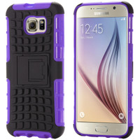 Purple Dual Layered Tough Durable Shock Absorbing Case For Galaxy S6 Edge - 1