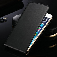 Black Genuine leather Flip Case For Apple iPhone 6 / 6S Phone Cover - 1