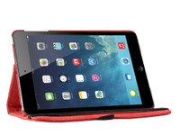 Red Apple iPad Mini 3 Smart Rotational Leather Stand Case Cover - 1