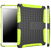 Green Tough Dual Layer Case For Apple iPad Air 2 with Built-In Kickstand - 1