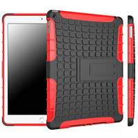 Red Tire Tread Heavy Duty Stand Case For Apple iPad Air 2 Tablet Cover - 1