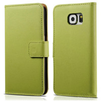 Green Genuine Leather Wallet Case for Samsung Galaxy Note 5 Cover - 1