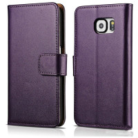 Purple Samsung Galaxy Note 5 Real Leather Cash Card Wallet Case - 1