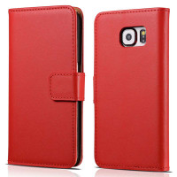 Red Real Leather Wallet Card Holder Flip Case For Galaxy Note 5 - 1