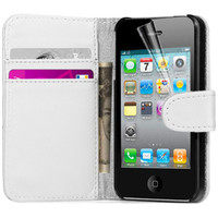 White Apple iPhone 4 / 4S Quality Wallet Case Cover