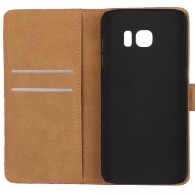 Samsung Galaxy S7 Genuine Leather Wallet Case Cover - Black - 2