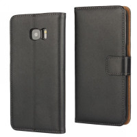 Black Genuine Leather Wallet Case For Samsung Galaxy S7 Edge - 1