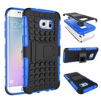 Blue Dual Layer Combo Kickstand Case For Samsung Galaxy S7 Edge