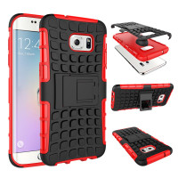 Red Hybrid Shock Proof Kickstand Case For Samsung Galaxy S7 Edge