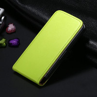 Green Genuine Leather Flip Case For Apple iPhone 4 / 4S - 1