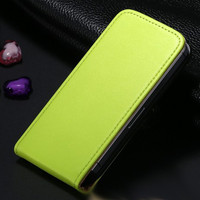 Green Leather Vertical Flip Case For Apple iPhone 5 / 5S / SE - 1