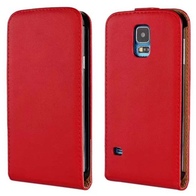 reputable site 93ac7 32f63 Red Genuine Leather Flip Case for Samsung Galaxy S5 Cover