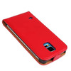 Red Genuine Leather Flip Case for Samsung Galaxy S5 Cover - 3