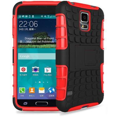 Red Heavy Duty Armor Kickstand Case For Samsung Galaxy S5 Mini - 1