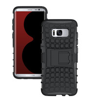 Black Heavy Duty Rugged Kickstand Armour Case For Galaxy S8 - 1