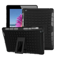Black iPad 2017 Heavy Duty Hybrid Kickstand Protective Cover Cases - 1