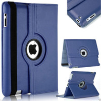 Navy Apple ipad Mini 4 Synthetic Leather Stand Smart 360 Degree Rotating case cover - 1