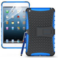Blue Apple iPad Mini 4 Hybrid Rugged Heavy Duty Kickstand Protective Case Cover - 1