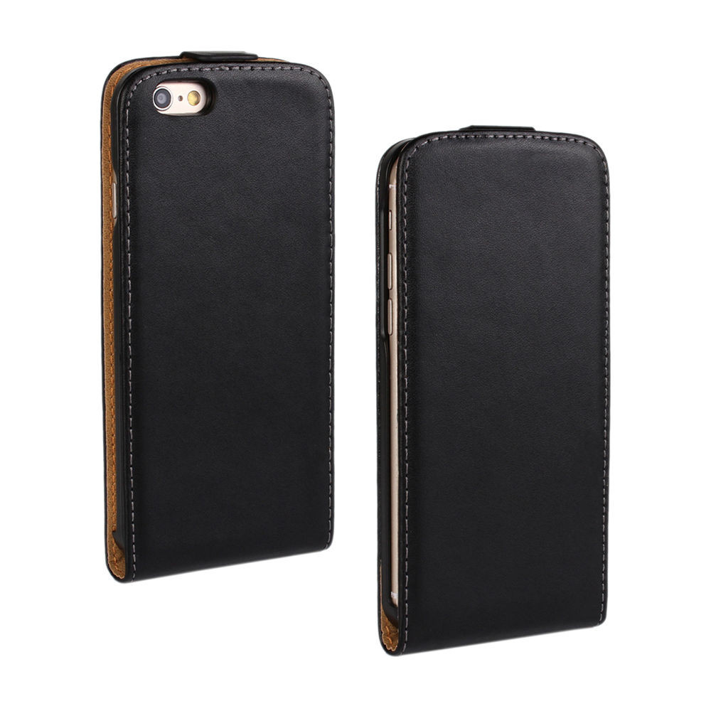 quality design c1203 b33f0 Black Vertical Flip Genuine Leather Case Cover For Apple iPhone 7