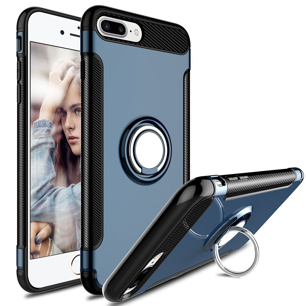 sneakers for cheap 52f51 8ffee Navy Blue iPhone 7 Plus / iPhone 8 Plus 360 Degree Ring Stand Case