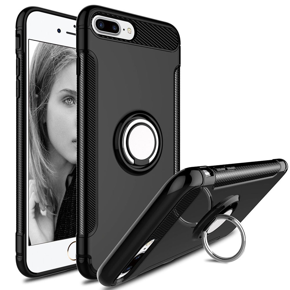 wholesale dealer 99430 84830 Black iPhone 7 Plus / iPhone 8 Plus Protective 360 Degree Ring Stand Case