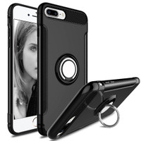 Black iPhone 7 Plus / iPhone 8 Plus Protective 360 Degree Ring Stand Magnetic Case - 1
