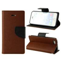 Apple iPhone 7 / 8 Diary Wallet Flexible TPU Holder Case - Brown / Black