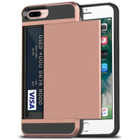 Rose Gold Rubber Bumper Slide Armor Card Holder Case For Apple iPhone 7 Plus / 8 Plus - 1