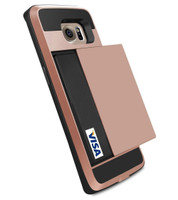 Rose Gold Shock Proof Slide Card Armor Case For Samsung Galaxy S7 Edge - 1