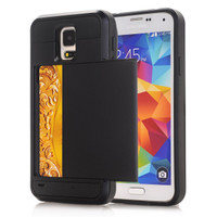 Black Rubber Bumper Slide Armor Card Holder Case For Samsung Galaxy S5 - 1