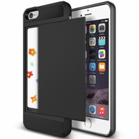 Black Shock Proof Slide Card Armor Case For Apple iPhone 5, 5S, SE - 1