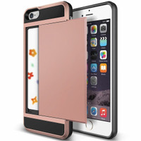 Rose Gold Slide Armor Case with Card Slot Holder For Apple iPhone 5, 5S, SE - 1