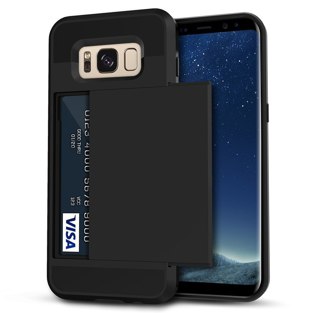 on sale 5f3a3 215ed Black Shock Proof Slide Card Armor Case For Samsung Galaxy S8