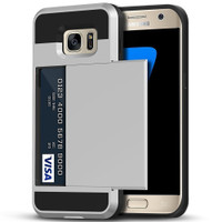 Satin Silver Protective Shell Slide Armor Card Holder Case For Samsung Galaxy S7 - 1