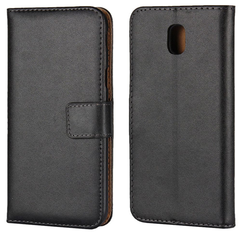 buy online 97ac5 de10a Black Genuine Leather Wallet Case For Samsung Galaxy J5 Pro (2017)