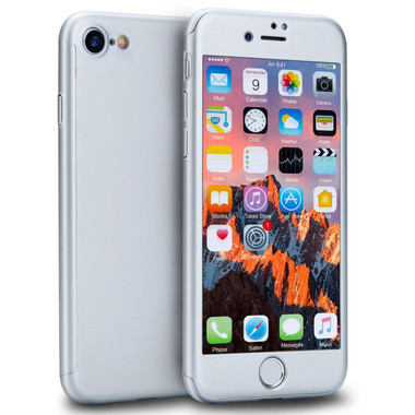 Silver iPhone 8 Full Coverage Protective Case + Glass Protector - 1