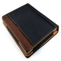 iPad Air 2 Durable Black & Tan Leather Wallet Stand Case Smart Cover - 1