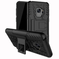 Samsung Galaxy S9 Plus Black Heavy Duty Rugged Kickstand Armour Case - 1